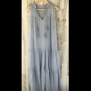 Free People River Gorge Maxi Dress Blue Striped